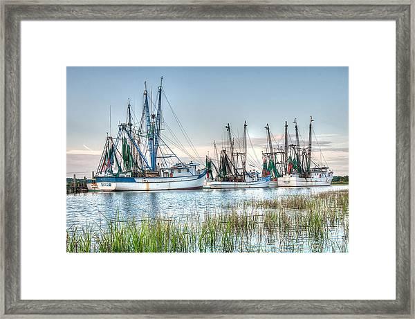 St. Helena Island Shrimp Boats Framed Print