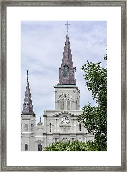 St. Louis Cathedral Through Trees Framed Print