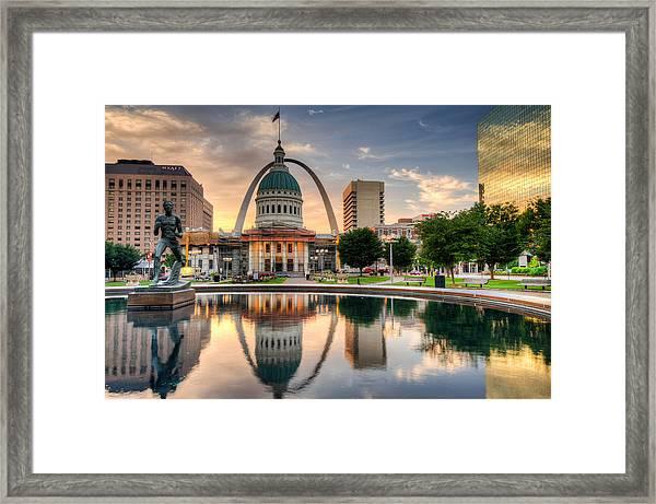 St. Louis Skyline Morning Reflections Framed Print