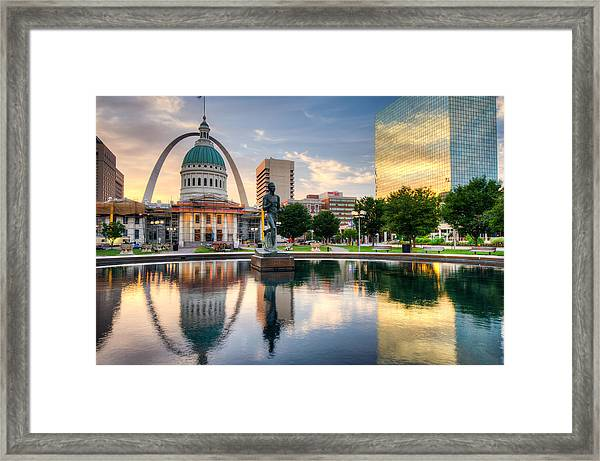 Downtown St. Louis City Reflections Framed Print