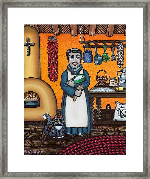 St. Pascual Making Bread Framed Print