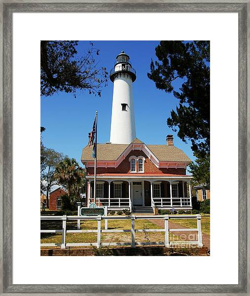 Framed Print featuring the photograph St. Simons Light by Mel Steinhauer