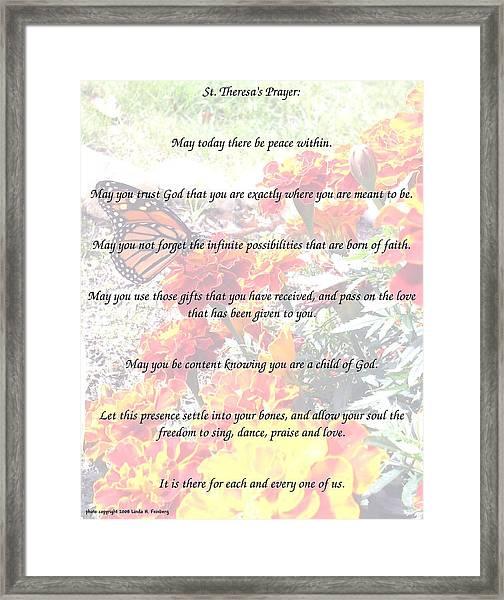 St Theresa's Prayer Framed Print