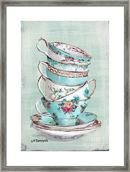 Stacked Aqua Themed Tea Cups Framed Print