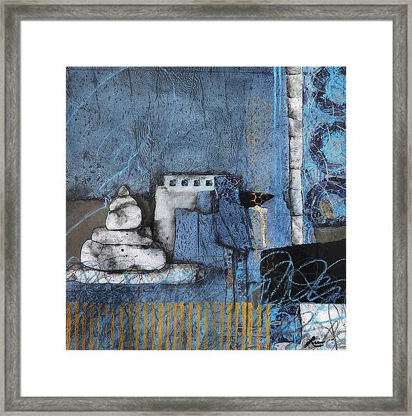 Stacking Rock Blue Yellow I Framed Print