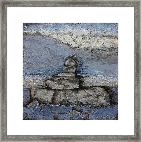 Stacking Rock Bluei Framed Print