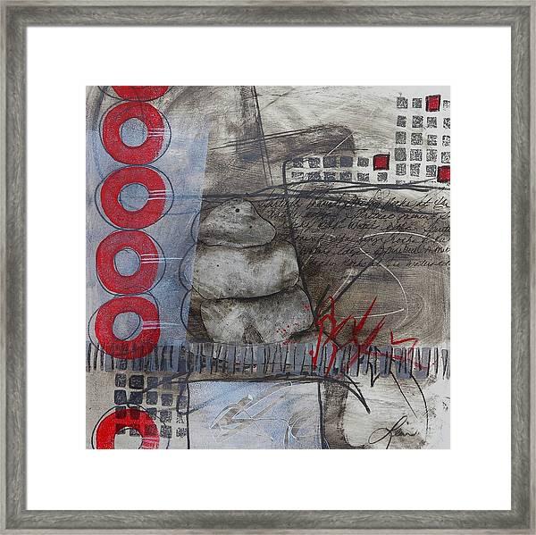 Stacking Rock Red I Framed Print