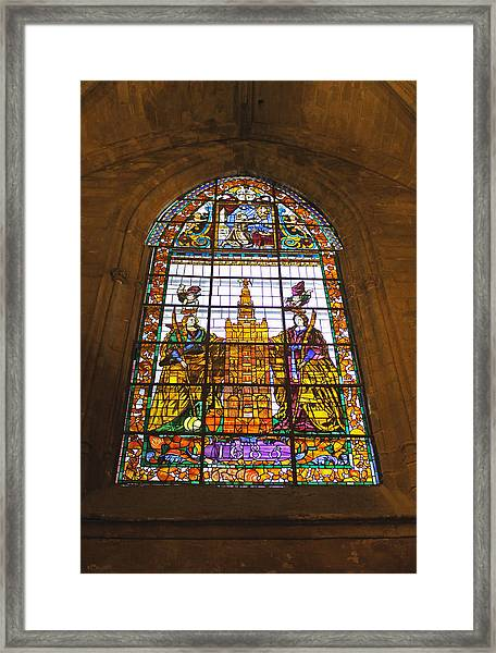 Stained Glass Window In Seville Cathedral Framed Print