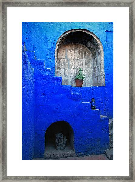 Staircase In Blue Courtyard Framed Print