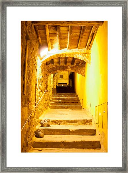 Stairs In Montepulciano At Night Framed Print by Jakob Montrasio