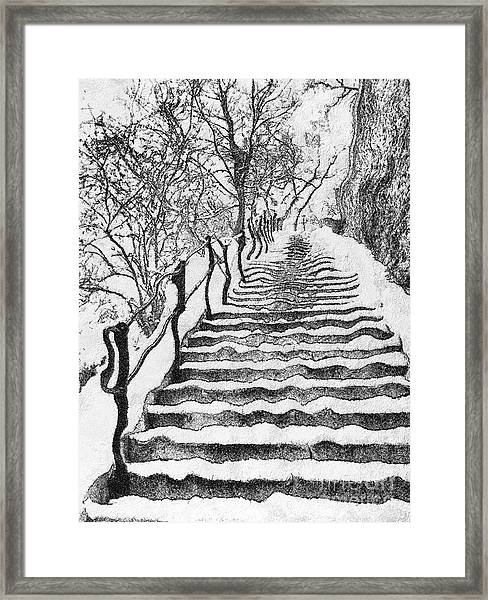 Stairs In Winter Framed Print