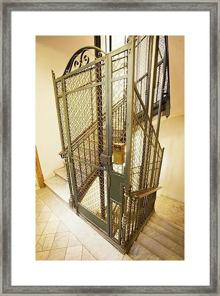 Stairway And Traditional Lift In Apartment Framed Print by Ton Kinsbergen/science Photo Library