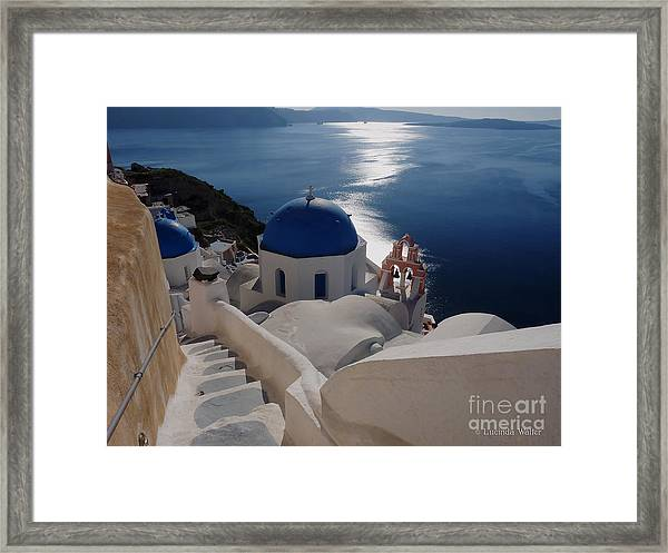 Stairway To The Blue Domed Church Framed Print
