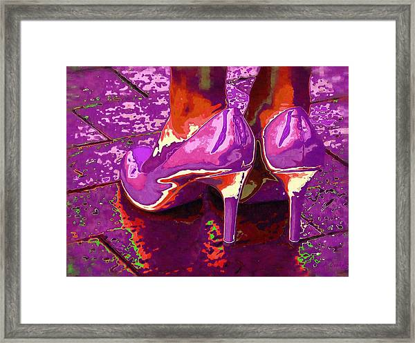 Standing In The Purple Rain Framed Print