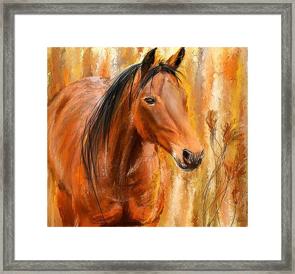 Standing Regally- Bay Horse Paintings Framed Print