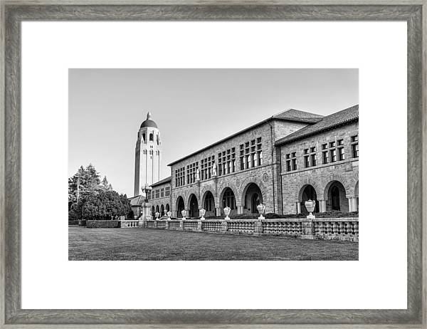 Framed Print featuring the photograph Stanford University In Black And White by Priya Ghose