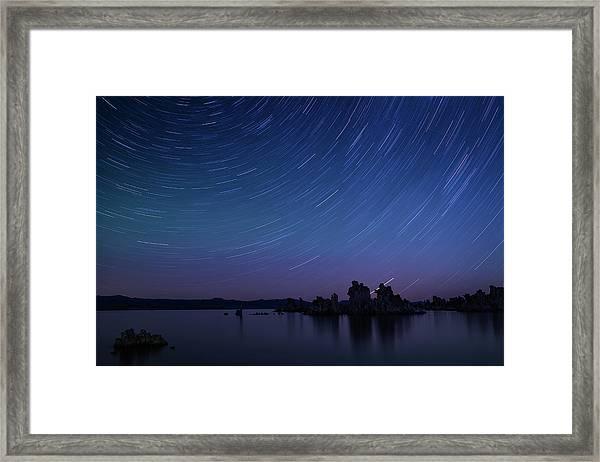 Star Trail And Air Glow At Mono Lake Framed Print