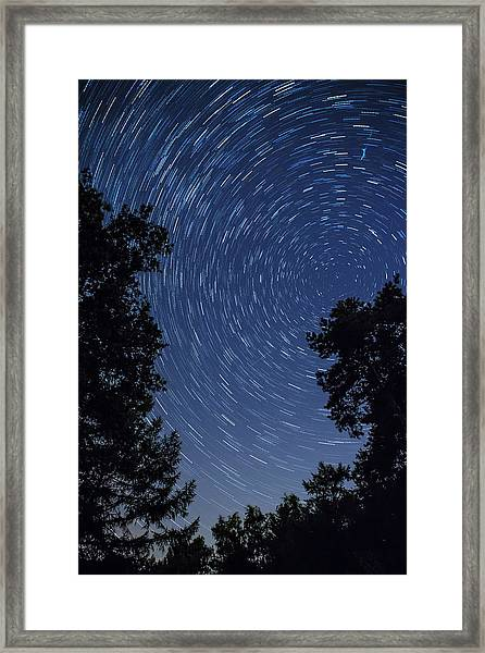 Star Trail With Burning Vapour From A Framed Print