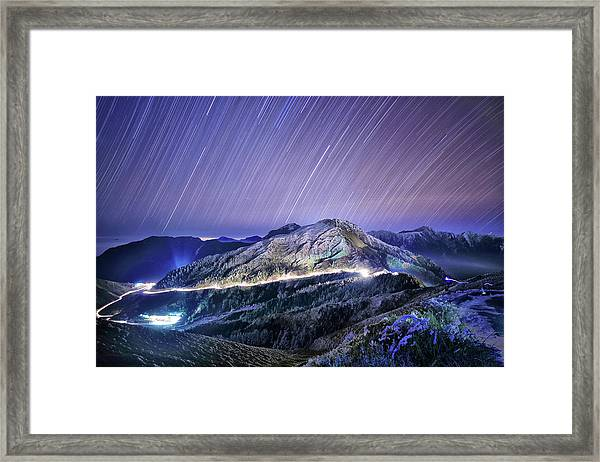 Star Trails Above High Mountains At Framed Print