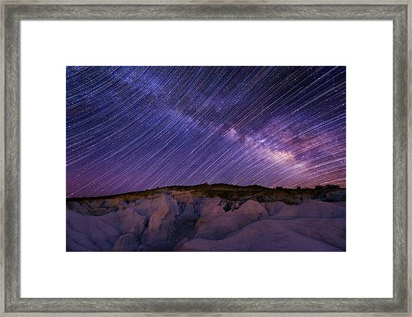 Star Trails And The Milky Way Framed Print