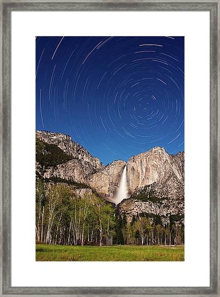 Star Trails And Yosemite Falls Framed Print