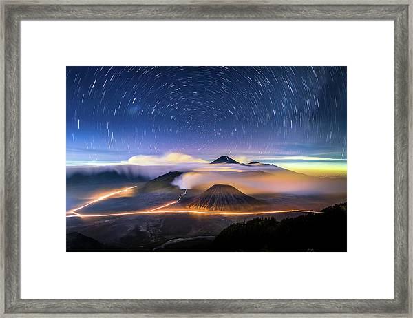 Star Trails At Bromo Framed Print