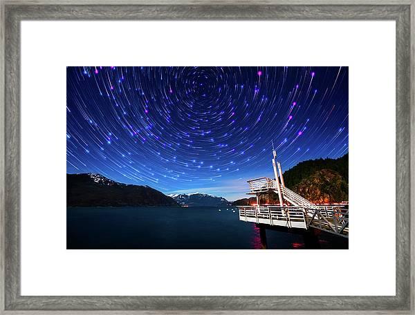 Star Trails Over Porteau Cove Framed Print