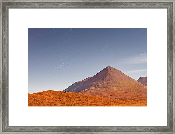 Star Trails Over The Mountains On The Framed Print