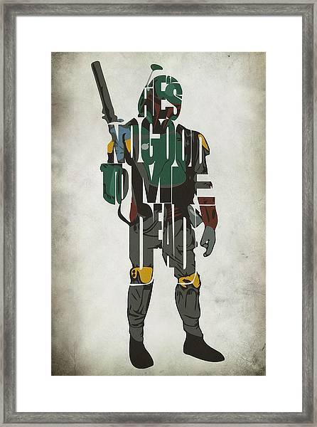 Star Wars Inspired Boba Fett Typography Artwork Framed Print