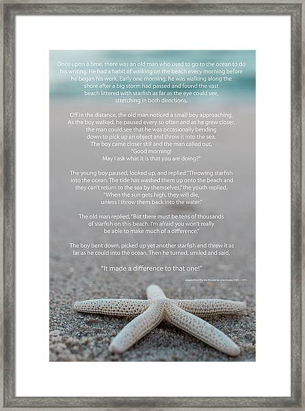 Starfish Make A Difference  Framed Print
