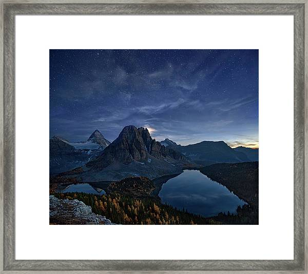 Starry Night At Mount Assiniboine Framed Print