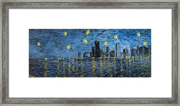 Starry Night In Chicago Framed Print