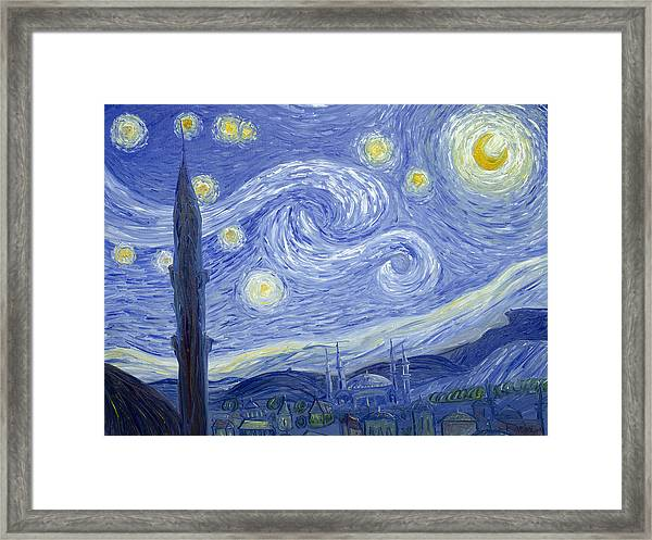 Starry Night In Istanbul Framed Print
