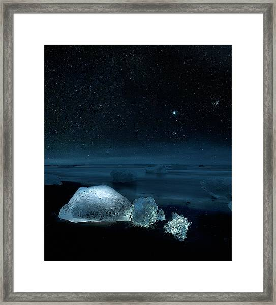 Starry Night Over Ice On Black Sand Framed Print by Arctic-images