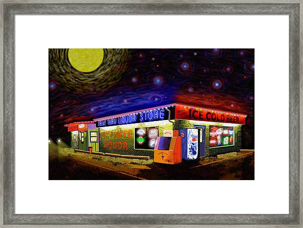 Starry Starry Fly By Nite Drive Thru Liquor Store Framed Print