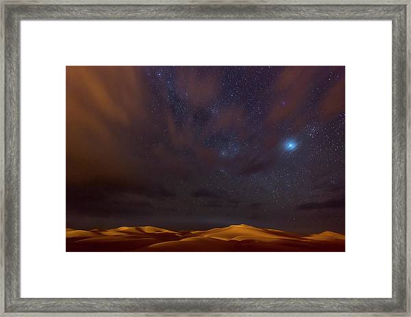 Stars, Dunes And Clouds In Marzuga Desert Framed Print by Tristan Shu