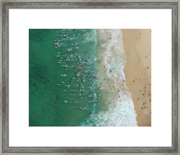 Start Of An Ocean Swimming Race Framed Print
