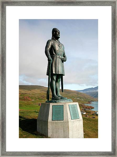 Statue Of Leif Eriksson, Son Of Erik Framed Print