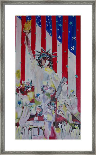 Statue Of Liberty/ Reaching For Freedom Framed Print