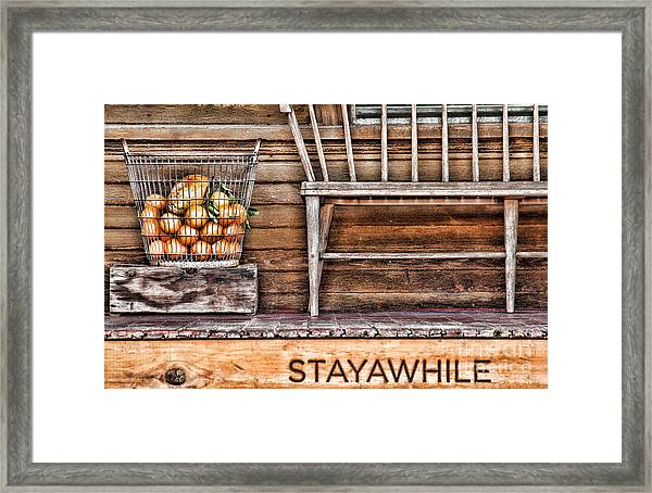 Stayawhile Framed Print