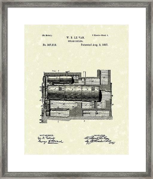 Steam Boiler 1887 Patent Art Framed Print
