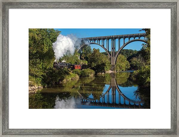 Steam In The Valley Framed Print