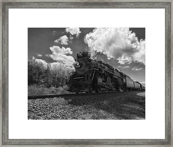 Steam Locomotive Passing Through Framed Print