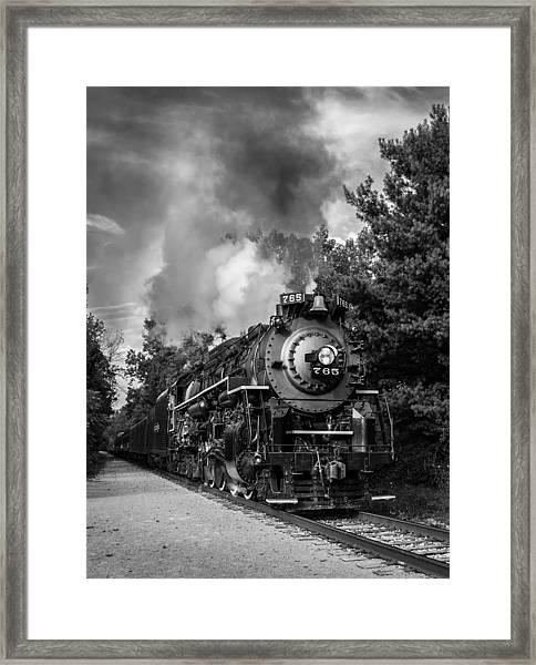 Steam On The Rails Framed Print