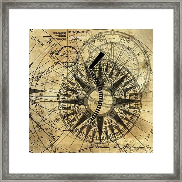 Steampunk Gold Compass Framed Print