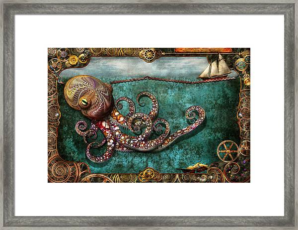 Steampunk - The Tale Of The Kraken Framed Print