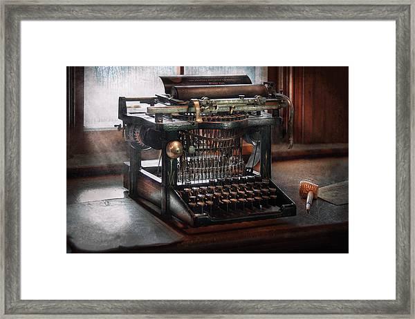 Steampunk - Typewriter - A Really Old Typewriter  Framed Print