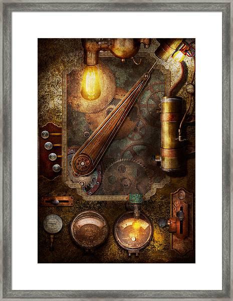 steampunk - victorian fuse box framed print