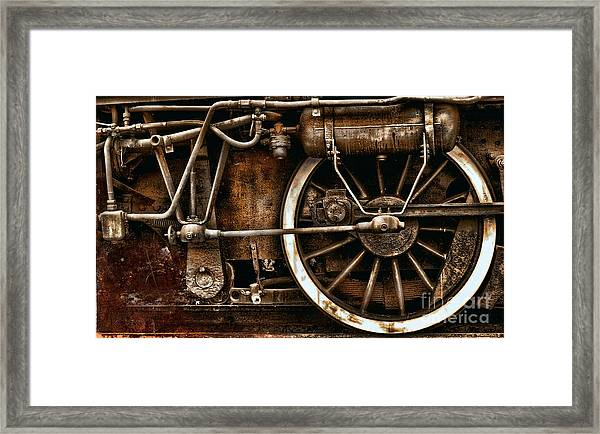 Steampunk- Wheels Of Vintage Steam Train Framed Print