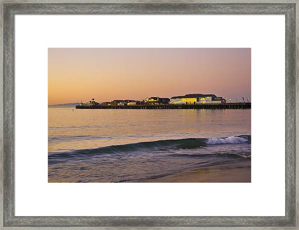 Framed Print featuring the photograph Stearns Wharf At Dawn by Priya Ghose